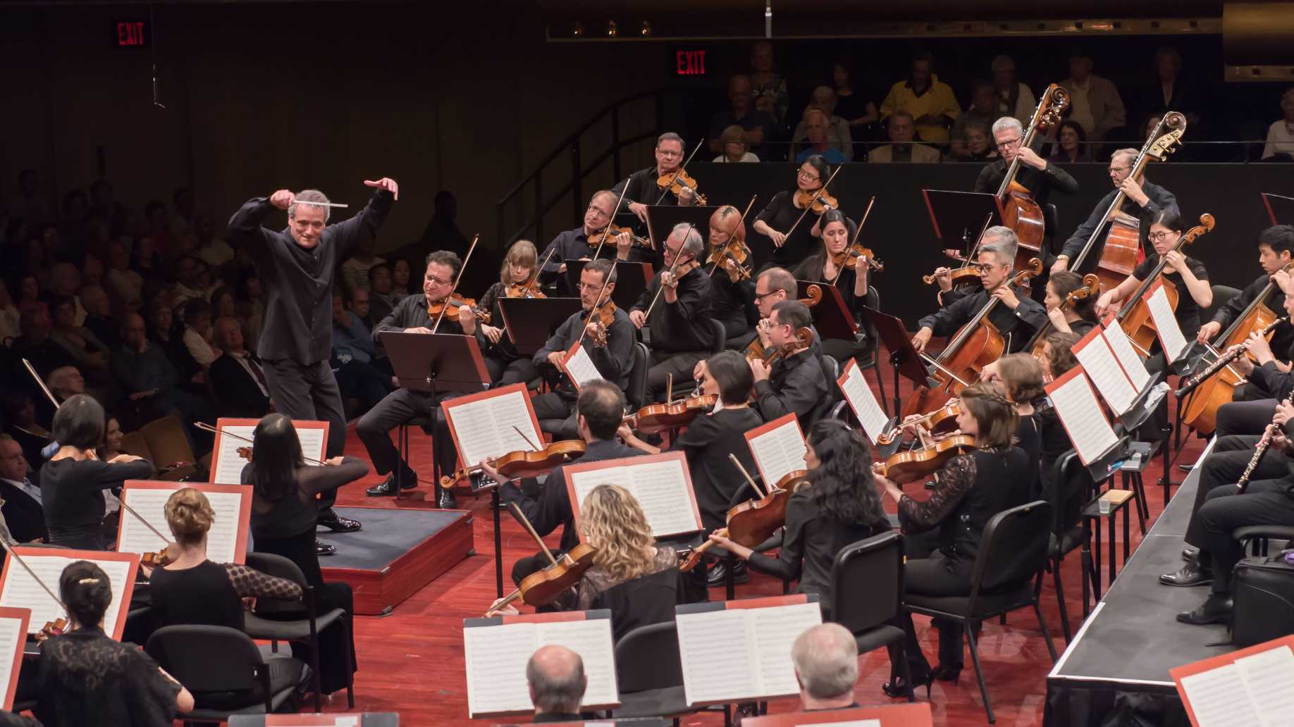 Wide shot of Louis Langree conducting the Mostly Mozart Festival Orchestra at David Geffen Hall.